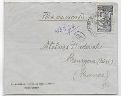 1940 - INDE FRANCAISE - EXPO NEW YORK RARE SEUL Sur LETTRE RECOMMANDEE De PONDICHERY => BOURGOUIN - Brieven En Documenten