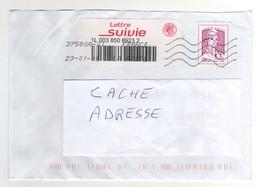 Lettre Suivie 20 G : Timbre Adhésif Lilas Rose + Vignette   Sur Lettre ,cover , Mail Du 23/01/2018 - Lettres & Documents
