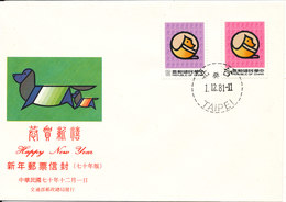 Taiwan FDC 1981 Year Of The Dog Set Of 2 With Cachet - FDC