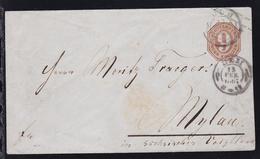 Ziffer 9 Kr. Mit K2 ULM 15 FEB 1867 Nach Mylau/sachsen - Wurttemberg
