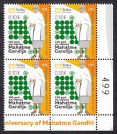 Montenegro 2019 150 Years Birth Of Mahatma Gandhi Famous People India, Corner In Block Of 4 With Numeration MNH - Montenegro