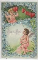 Cpa Fantaisie Ange Coeur Carte Relief Bonne Fete - Angels