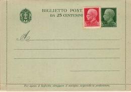 (St.Post.).Regno.V.E.III. Biglietto Postale 25c Verde Nuovo Preaffrancato Per L'estero (348-13) - Ganzsachen