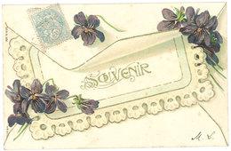 Cpa Fantaisie Souvenir ( Fleurs, Violettes, Gaufrée, Dorée ) - Autres