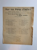 Partition Musicale : Pour Nos Frères D'italie Bruyant Alexandre 7 Janvier 1909 - Scores & Partitions