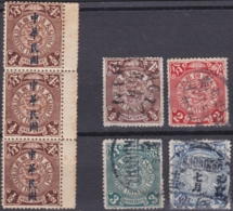 """CHINA 1912, Regular Issue, """"Dragons"""" Various Cancelled + Strip Of 3, Unmounted Mint - China"""