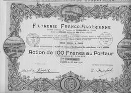 FILTRERIE FRANCO ALGERIENNE - LOT DE 6 ACTIONS DE 100 FRS - ANNEE 1928 - Afrika