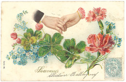 """Cpa Fantaisie """" Souvenir """" Fleurs, Mains, Trèfles ( Gaufrée, Dorée ) - Autres"""