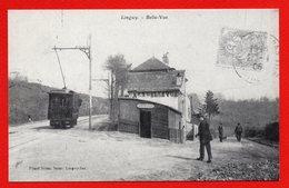54. Longwy-Haut. Buvette A La Belle Vue. Tramway, Passants. Reproduction IMPACT Longwy ( Collection R. Kretzer) - Longwy