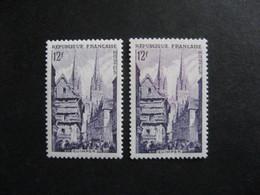 TB N° 979a Violet, Signé + Normal , Neufs XX . - Variétés: 1950-59 Neufs