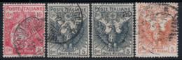 Italia Regno 1915-16 Sass. 102-105 Usato 100% Croce Rossa, 5 Cent - Usati