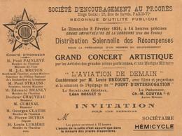 """Invitation Au Grand Concert Artistique Et à La Conférence De Louis Bréguet Sur """"l'Aviation De Demain"""" Donné à La Sorbonn - Programma's"""