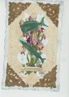 POISSON D'AVRIL - Jolie Carte Fantaisie Dentelle Avec Ajoutis Fleurs Et Poissons D'avril - 1er Avril - Poisson D'avril