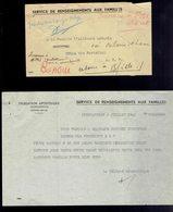 Lettre Avec Tous Les Documents: Service De Renseignements Aux Familles Délégation Apostolique Juillet 1941  ( 4 Scans ) - Congo Belge