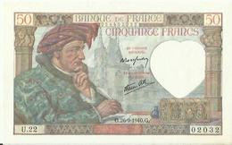 Billet De Cinquante Francs  A Coeurs Vaillants  Riens Impossible G 26 .9 1940 .g Etat Neuf - 50 F 1934-1940 ''Cérès''