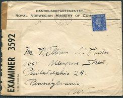 1944 GB Norway Censor Cover, Handelsdepartmentet / Royal Norwegian Ministry Of Commerce, London - USA - 1902-1951 (Rois)