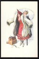 Cpa..illustrateur Italien..Bertiglia . A...art Nouveau../art Déco...jeune Femme élégante Avec Manteau De Fourrure... - Bertiglia, A.