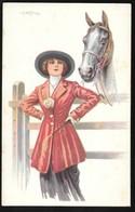 Cpa..illustrateur Italien..Bertiglia . A...art Nouveau../art Déco...jeune Femme Cavalière Avec Cheval ... - Bertiglia, A.