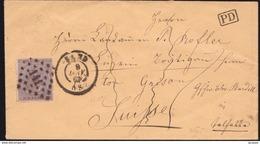 BELG. N°19 SUR LETTRE OBL.9 JANV 67  VERS LA SUISSE  PD. - 1865-1866 Profil Gauche