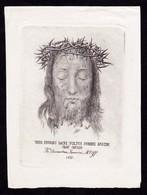Incisione, Santino: SACRO VOLTO DI N.S. GESU' CRISTO - Anno 1878 - RB - Mm.: 85 X 115 - RI-INC028 - Religión & Esoterismo