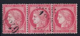 JOLIE BANDE De 3 TIMBRES CERES N° 57 OBLITÉRÉ TB (VARIÉTÉ : FOND LIGNÉ) OBLITERATION GC 1349 DRAGUIGNAN VAR - 1871-1875 Cérès