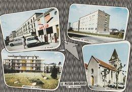 LE PLESSIS-BOUCHARD (95). Souvenir De ... 4 Vues: Le Village, Station ANTAR; Résidence Ddu Soleil; Résidence; L'Eglise - Le Plessis Bouchard