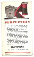 """BUVARD - BURROUGHS - """"PERFECTION"""" - N° 50072-5-12-32 - 1 Et 3 Rue Des Italiens Paris - Buvards, Protège-cahiers Illustrés"""