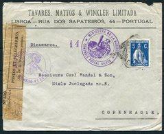 WW1 Portugal Lisboa, Tavres, Mattos & Winkler Ltd Cover, Dieppe France Censor - Copenhagen Denamrk - 1910-... Republic