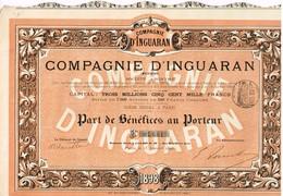 Titre Ancien - Compagnie D'Inguaran - Mexique - Titre De 1898 - N° 04661 - Mines