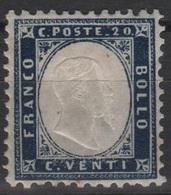 1862 20 C. Indaco Ottima Centratura MLH - 1861-78 Victor Emmanuel II.