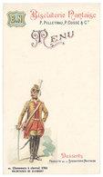 Menu B.N. Biscuiterie Nantaise, P. Pelletrau, P. Cossé & Cie ( Chasseurs à Cheval 1763, Volontaires De Clermont ) - Menus