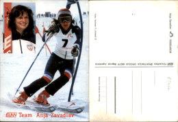 ANJA ZAVADLAV SKIING POSTCARD - Wintersport