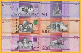 Dominican Republic Set 50, 100, 200 Pesos Dominicanos 2017 UNC Banknotes - Dominicaine