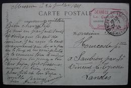 Saint Vincent De Tyrosse 1915 Cachet Service GVC Rouge Dessiné à La Main ! - Postmark Collection (Covers)