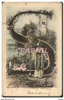 Fantaisie - Enfant - Child Swinging From Unusual Tree - Elegant Dress (carte Hongroise Hungary Hongr - Non Classés