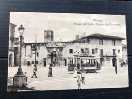 VICENZA PIAZZA DELL'ISOLA  PALAZZO DEL TERRITORIO  1915  TRAM - Vicenza