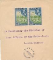 Curacao - 1945 -  2x 1,5 Cent Eilanden Op 2x Censored Wrapper Van Curacao Naar London / UK - Censuurstempel H2 - Grey - Curaçao, Antilles Neérlandaises, Aruba