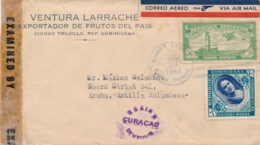 Rep Dominicana / Curacao - 1943 - Censuurstempel H2 - Violet - Op Incoming Censored Cover Van Trujillo Naar Aruba - Niederländische Antillen, Curaçao, Aruba