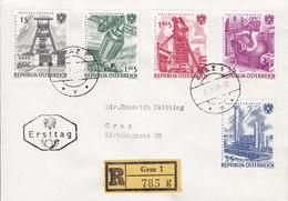 Austria Registered Einschreiben Label GRAZ 1961 FDC Cover Ersttags Brief Verstaatliche Unternehmen Complete Set ! - FDC