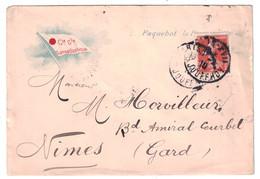 ENTETE PAQUEBOT LA PROVENCE Sur ENVELOPPE COMPAGNIE GÉNÉRALE TRANSATLANTIQUE AFFRANCHIE SEMEUSE Pour NIMES 1910 - Marcophilie (Lettres)