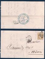 """1865 - CACHET BLEU """" GARE DE NIMES / CHEMINS DE FER PLM """" Au DOS D'UNE LETTRE LOCALE AFFRANCHIE NAPOLEON 21 GC 2659 GARD - Marcofilia (sobres)"""