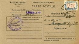 Carte De Ravitaillement, Mairie De LINSELLES  (Nord), Cachet à Date Du 28 Août 1946 - Marcophilie (Lettres)