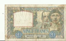 Billet De VINGT FRANCS BG 3.10.1940    BON ETAT - 1871-1952 Antichi Franchi Circolanti Nel XX Secolo