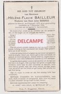 "DOODSPRENTJE BAILLEUR HéLèNE WEDUWE REBEREZ WERVIK 1879 - 1952  ""ANTI-KOPIE"" - Devotion Images"