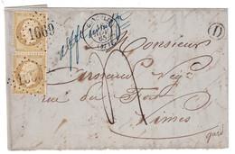 """1865 - MENTION """" AFFRANCHISSEMENT INSUFFISANT """" + TAXE MANUSCRITE Sur LETTRE AFFRANCHIE PAIRE 21 GC 1669 GONCELIN NIMES - Marcofilia (sobres)"""