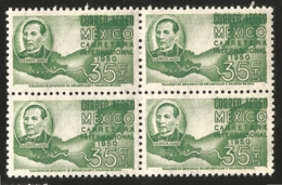 J) 1950 MEXICO, BLOCK OF 4, PRESIDENT BENITO JUAREZ AND MAP, SCOTT C200, MN - Mexico
