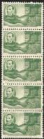 J) 1950 MEXICO, STRIP OF 5, PRESIDENT BENITO JUAREZ AND MAP, SCOTT C200, MN - Mexico