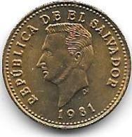* El Salvador 1 Centavo 1981 Km 135.2a Bu - Salvador