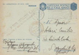 CARTOLINA FRANCHIGIA 1942 7 REGG. ARTIGLIERIA-TIMBRO CUNEO (IX180 - 1900-44 Victor Emmanuel III