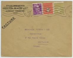 Enveloppes 1949 Avec Perforés Chauvin Blache Et Cie à Aubenas (difficile à Lire). Marianne De Gandon . Pharmacie . - Perfins